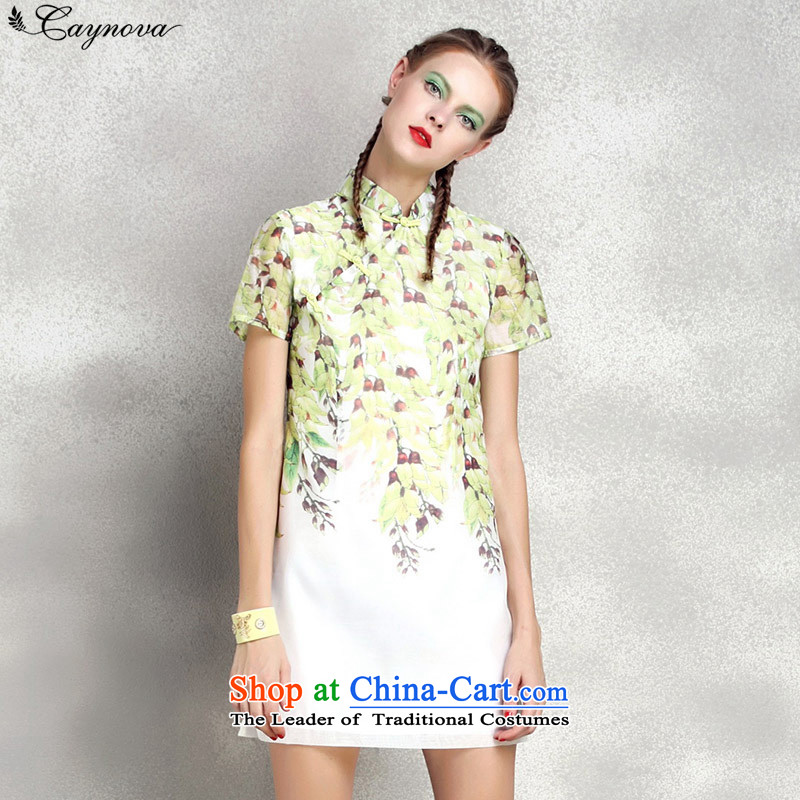 The new summer caynova2015 stylish short-sleeved small fresh picture color?L stamp Cheongsam