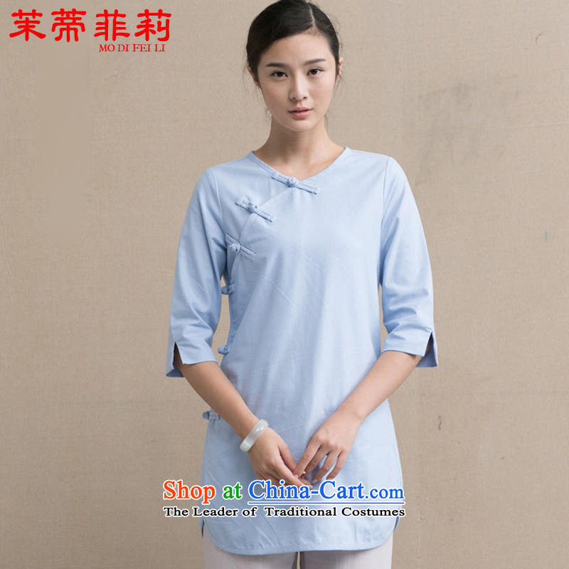 Energy Tifi Li Chinese Tang dynasty cotton linen blouses qipao gown disc detained cardigan improved Han-blue?S