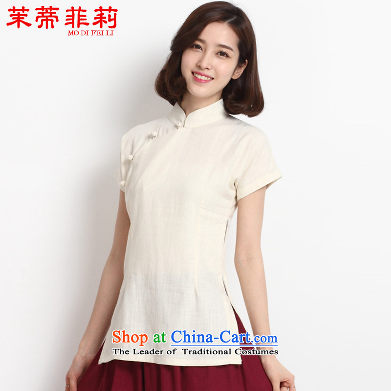In?2015, Li Tifi Chinese female new Tang Dynasty of Korea wind short-sleeved qipao cotton linen improved Han-T-shirt white?L