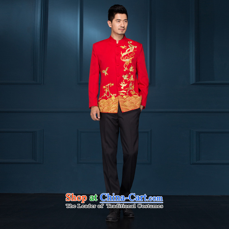 Pure Love bamboo yarn Chinese Dress Sau Wo service men's new Chinese style wedding groom marriage long-sleeved Tang Dynasty Chinese tunic hi-dress costume show red�0