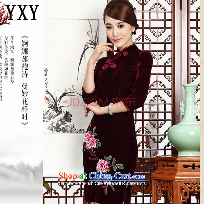 In short, the Cloud's Stylish retro mother embroidery cheongsam cheongsam dress Kim velvet wedding dress�AQE002�wine red�XL