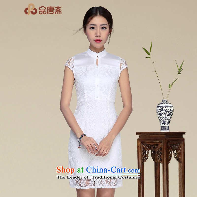 No. of Ramadan cheongsam dress short summer new summer daily qipao stylish improved dresses white?L