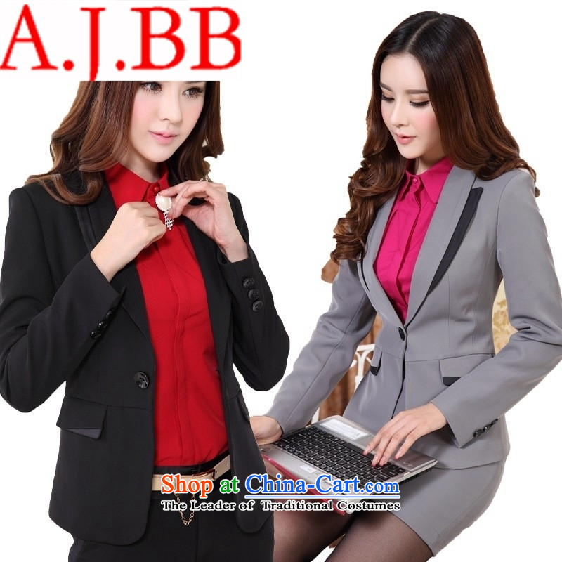 Only the white-collar shop perfect temperament vocational ladies pants kit vocational kits skirt gray suit business suit gray jacket + skirts + shirt?L