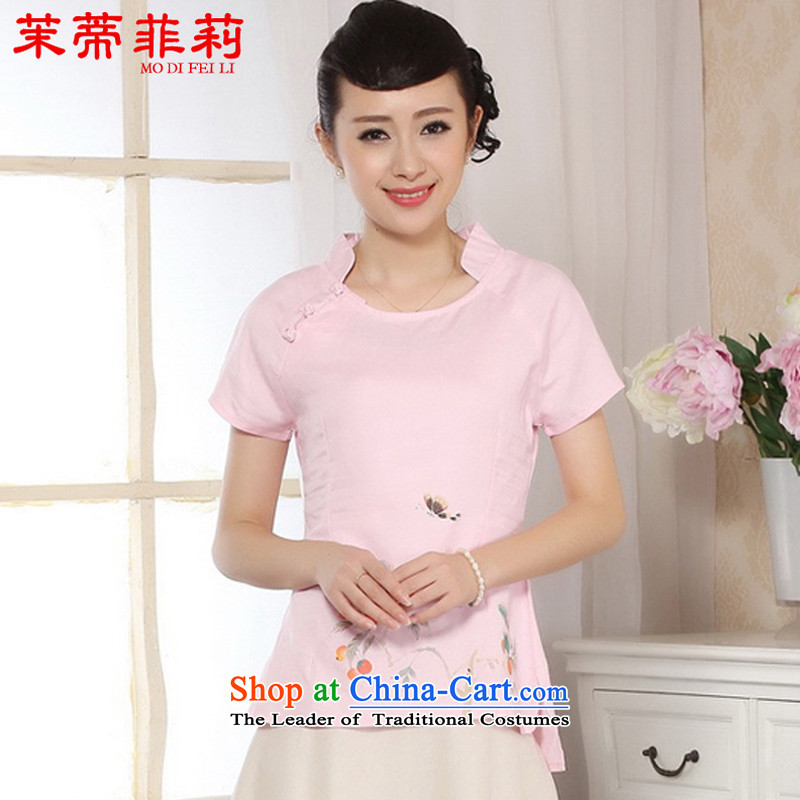 Energy Tifi Li Han-improved short-sleeved 2015 New Tang dynasty daily cotton linen clothes female pink?L