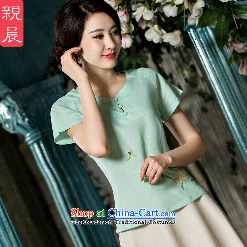 The pro-am cotton linen Tang dynasty improved daily cotton linen Chinese Han-summer 2015 new dresses qipao shirt female clothes L