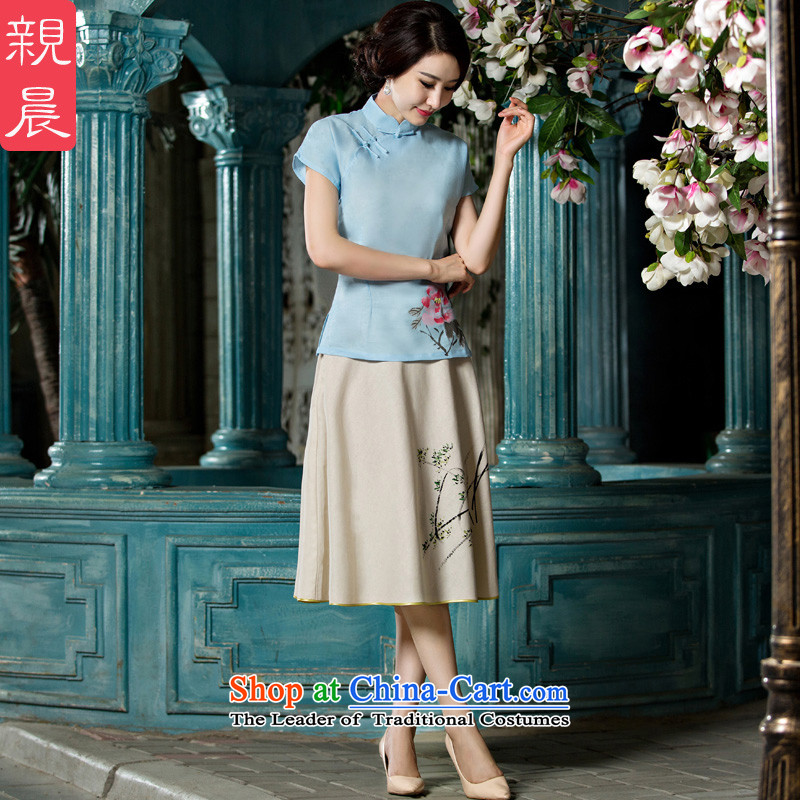 At 2015 new pro-improved stylish shirt summer qipao female Tang Dynasty Chinese daily cotton linen dresses燗0069-A+P0011 cheongsam dress燲L