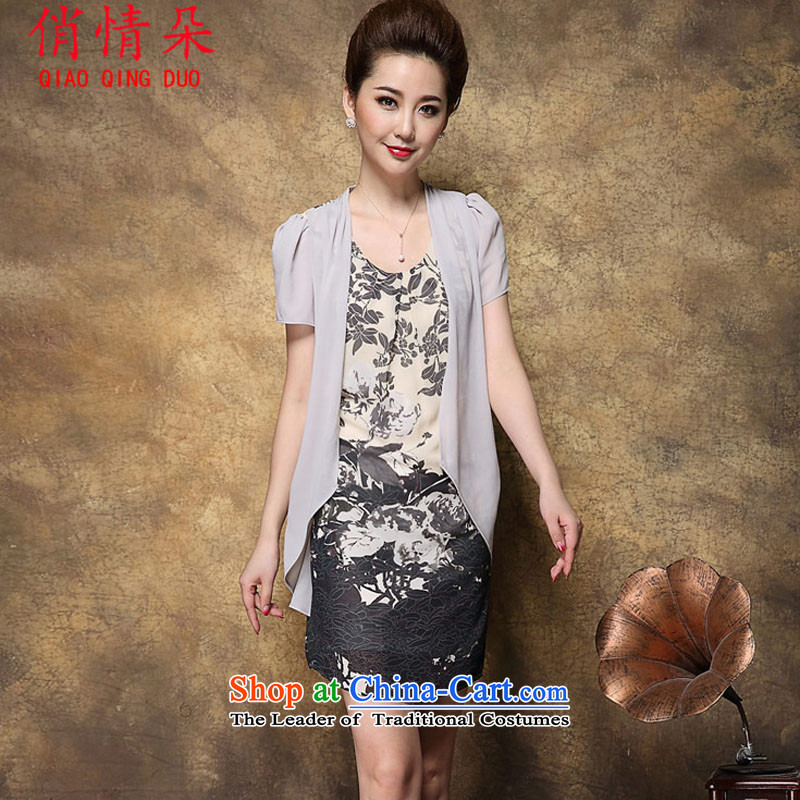 For information on MOM flower dresses large short-sleeved two kits stamp chiffon dresses summer FD4069R8947 video thin light gray燲XL