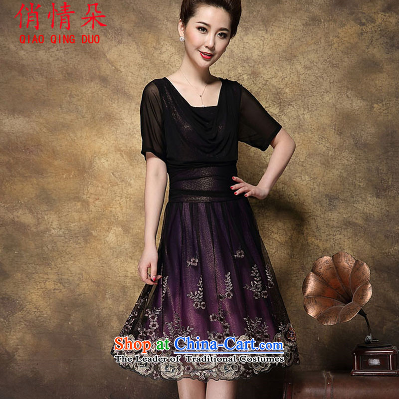 For the love of a new summer heavy industry embroidery short-sleeved dresses female aged mother with larger female FD4069R8959 deep purple Other Sizes