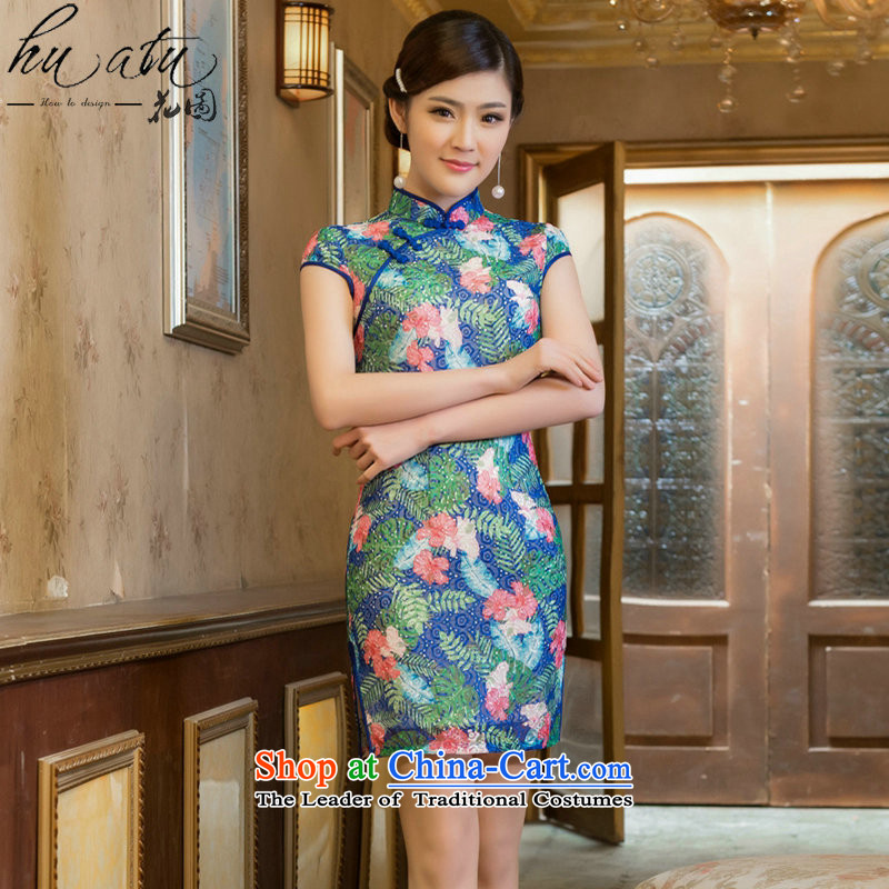 Figure for summer flowers new stylish Sau San Graphics Improvement qipao thin double embroidery lace Chinese cheongsam dress Tsing Park Short�M