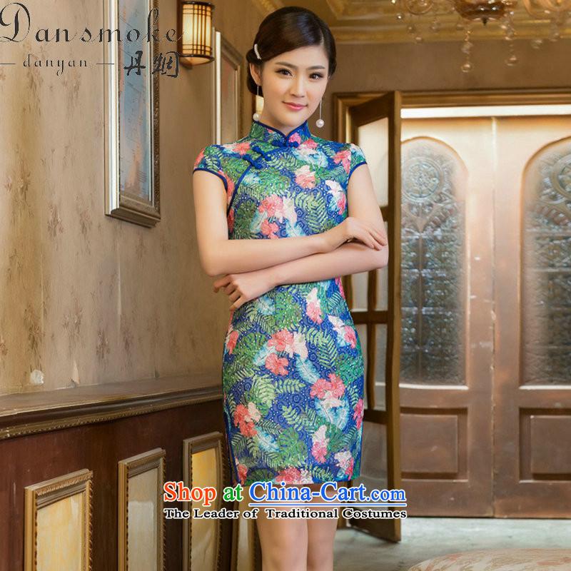 Dan smoke summer new stylish Sau San Graphics Improvement qipao thin double embroidery lace Chinese cheongsam dress Tsing Park short L