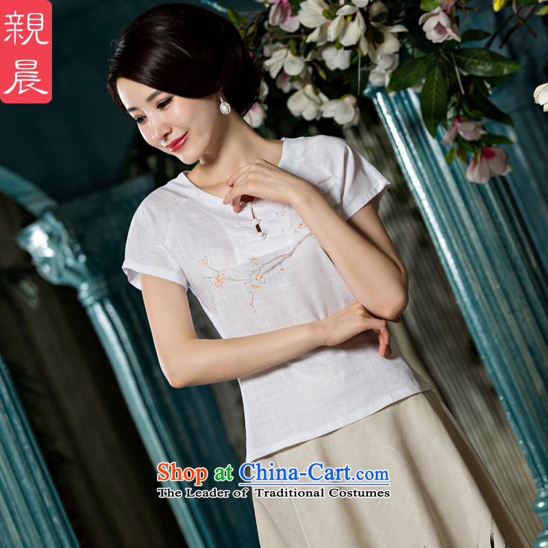 The pro-am New Daily Nation 2015 wind Han-short-sleeved T-shirt qipao improved cotton linen, Ms. Tang Xia shirt + P0011 replacing skirts聽M