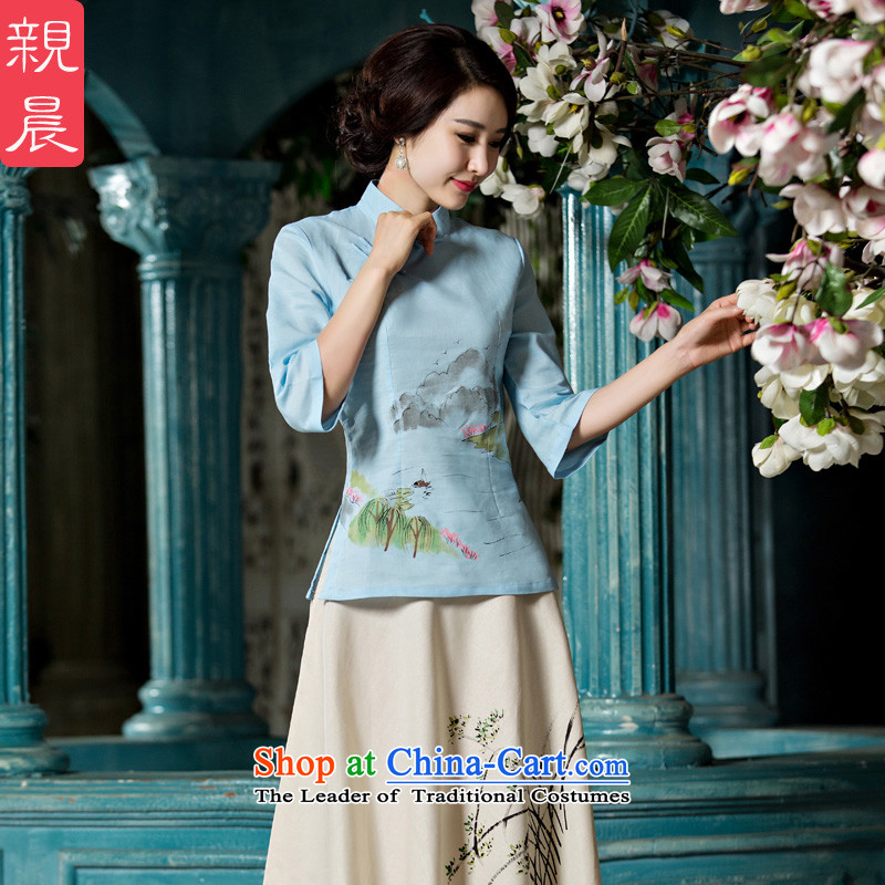 At 2015 new pro-improved cotton linen clothes female summer and fall of qipao replacing Tang Dynasty Chinese daily dresses in cuff?A0076-A+P0011 skirt?L