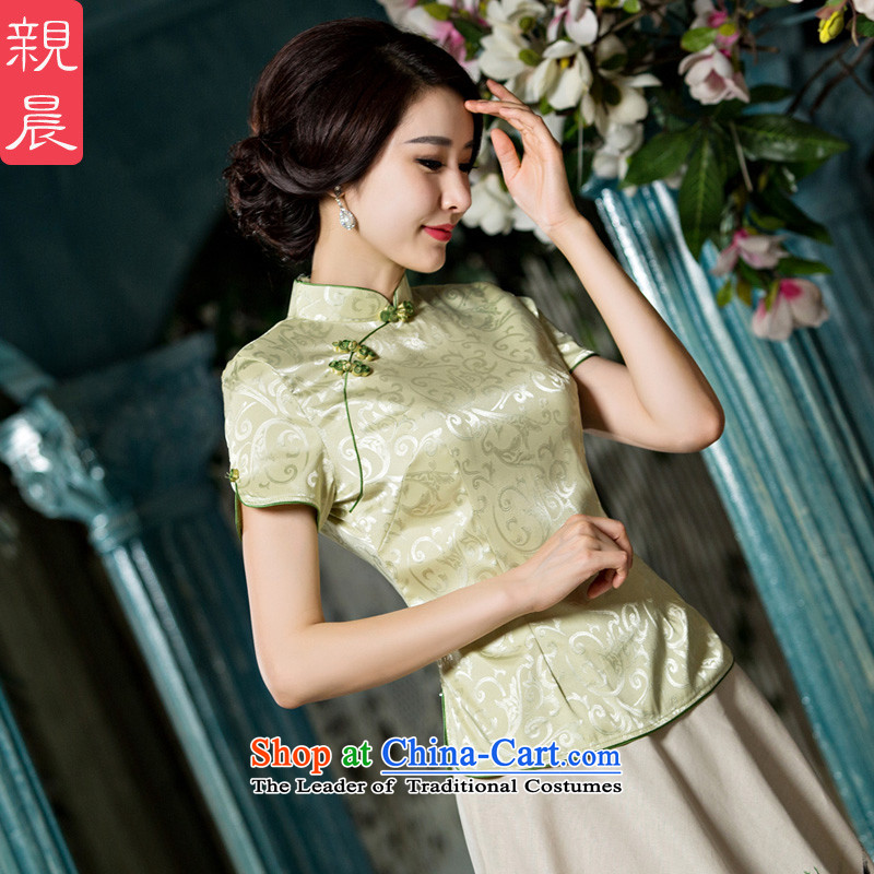 The pro-am qipao shirt new summer and fall of 2015, replacing the improvement in the daily retro style Chinese long skirt female?A0052-a short-sleeved + P0011 skirt?L