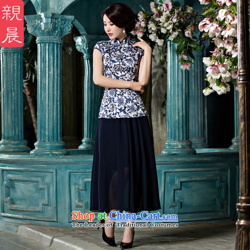 The pro-am cheongsam dress 2015 New Stylish retro-to-day improved Chinese Tang dynasty qipao shirt summer?A0061+ female body chiffon skirt?L