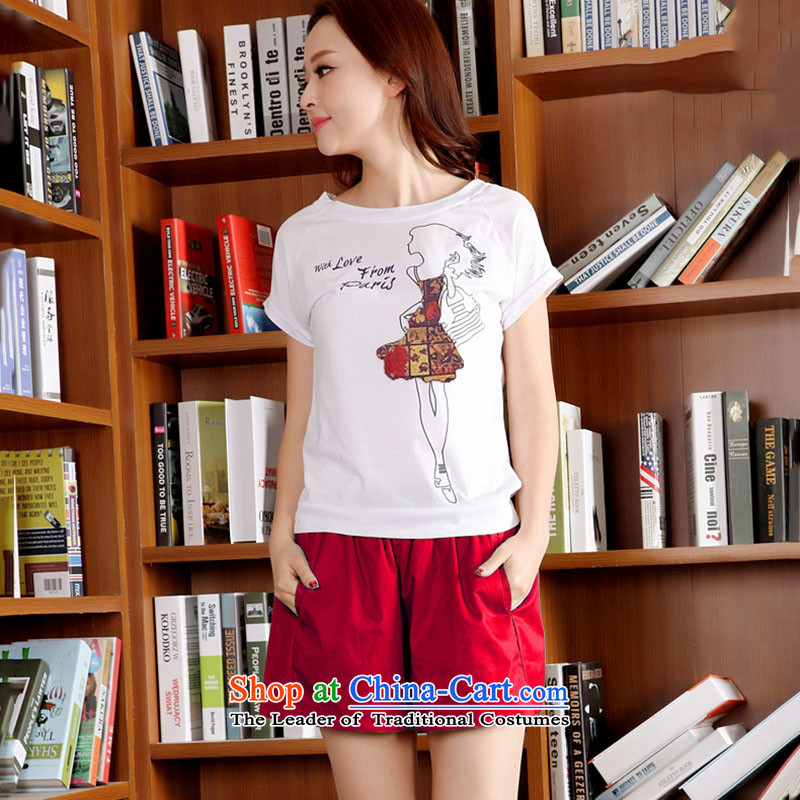 O Chi Mei 2015 Summer Korea Women's Korean version of the liberal video thin shorts, short-sleeved T-shirt Sports and leisure two kits red�L