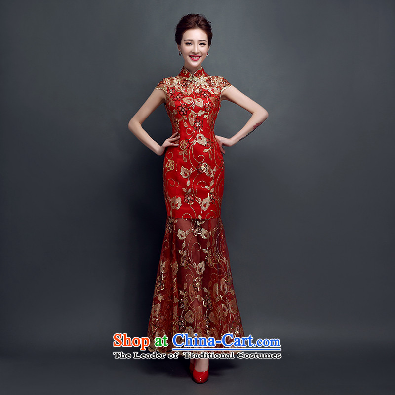 The bride wedding dress bows Services Mr Ronald New 2015 Skirt Red Stylish retro qipao lace Sau San evening dresses pleasant green long燬 Bride