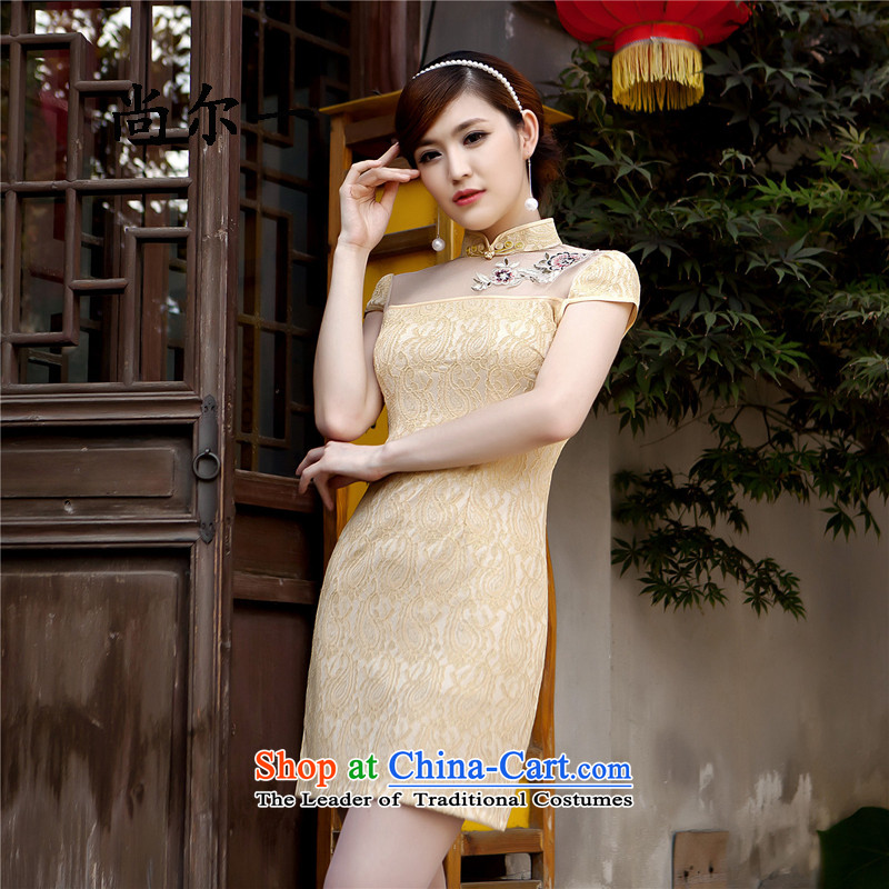 Yet, a new summer 2015 Sau San video thin temperament elegant retro lace cheongsam dress short of female SM61210 YELLOW?S