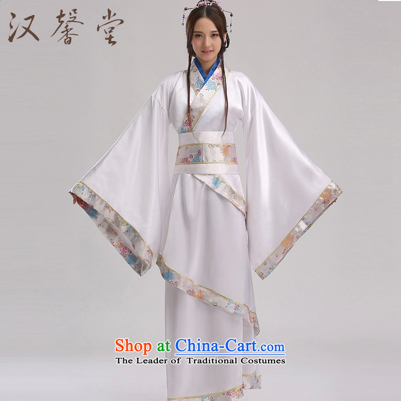 Han Xin Tong Tang dynasty costume Han-female civil administration will track improvement stage costumes white videos costumes are white code
