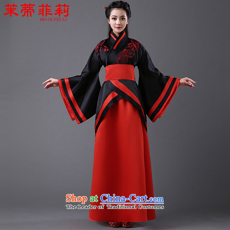 Energy tifi women improved costume Li Han-new long-sleeved retro Sau San Tong will replace the tracks were long skirt black coat-red petticoat are code
