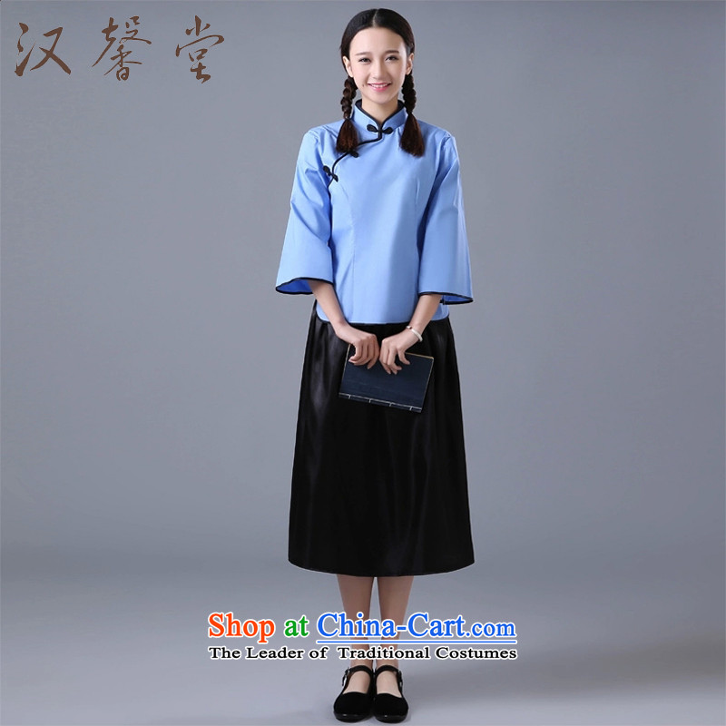 Hon-hyung of the Republic of Korea women's wind tong students graduated from the service pack mekage floor photo album of the Republic of Korea will feel the wearing of school uniforms to dark blue blouse wind + skirt?XS