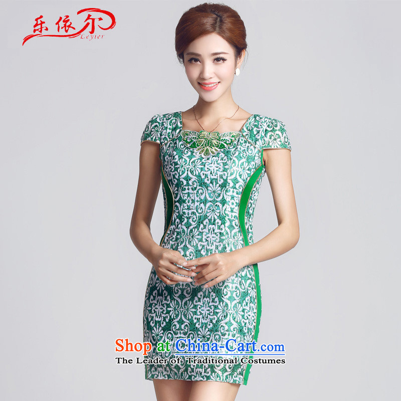 In accordance with the American, embroidered short sleeves retro ethnic improvements Sau San stylish?LYE1301 qipao 66603 green?XL