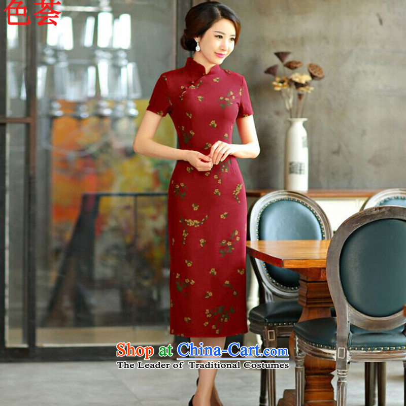 The color of the ESU qipao Summer 2015 new retro long thin short in Sau San video large cuff improved linen long skirt 7 5 qipao Code?9007?Samui Red?M