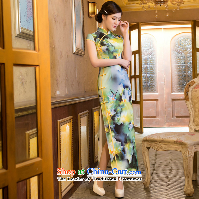 Figure for summer flowers of Chinese New improved cheongsam dress retro elegant air layer stamp dinner long gown Tsing orange�L Cheongsam