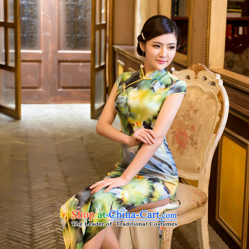 Dan smoke summer new Chinese cheongsam dress retro improved elegant air layer stamp dinner long gown Tsing orange?M Cheongsam