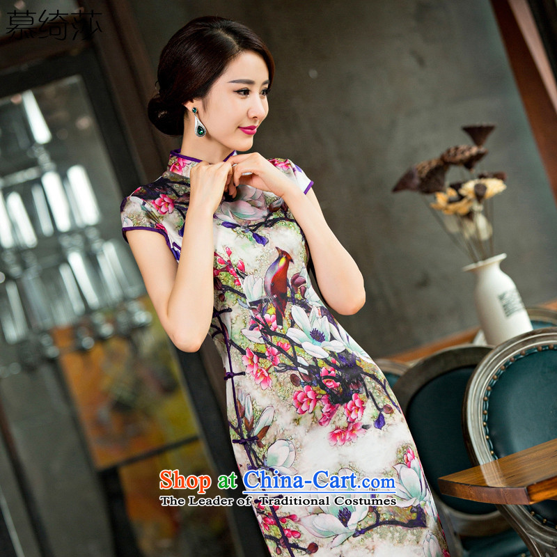 The cross-SA-know?2015 new improvement in summer qipao long skirt cheongsam dress?QD220 qipao 2XL
