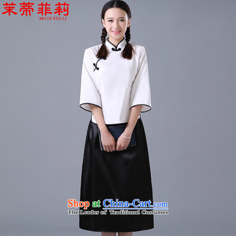 Energy tifi li of the Republic of Korea women's ancient 1919 wind young students with retro style qipao white S REPUBLIC OF KOREA