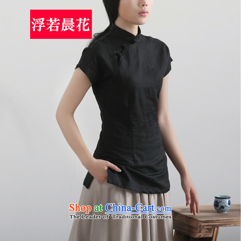 So floating flower Tang Women's clothes summer retro tea service of the Republic of Korea, linen dresses . 51 23 pre-sale black�S