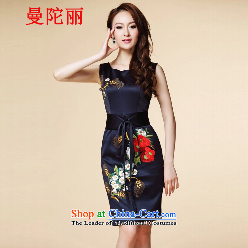Cayman and Lai Tang Gown cheongsam dress summer�2015, summer new women's larger noble dinner dress short of embroidery short-sleeved silk dresses navy sleeveless�XXL
