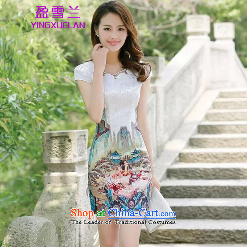 In? 2015, New surplus of qipao skirt summer daily porcelain stylish short of improved dress #5523 * golden beauty figure?XXL