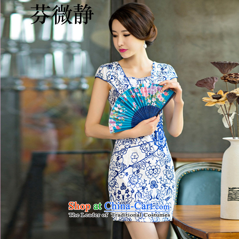 Leung Ching?2015 daily women micro-package and short skirts of qipao improved stylish porcelain dresses porcelain?XXL