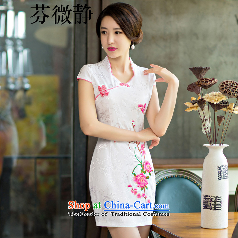 Stephen micro-ching?2015 Summer improved female cheongsam dress retro-day short of Sau San qipao gown RED?M