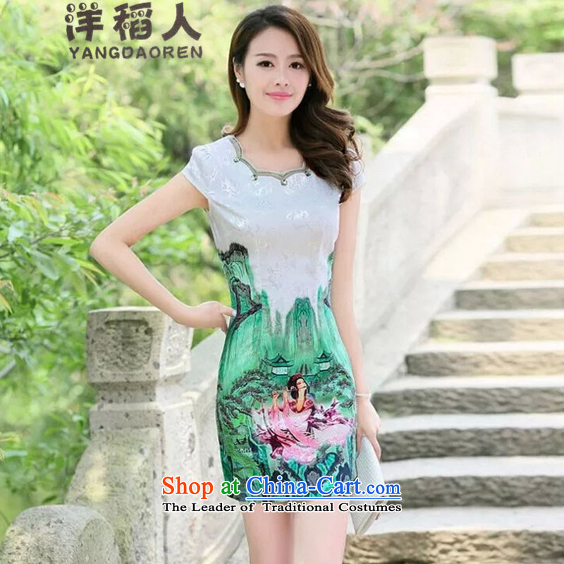 Yang inato    new summer 2015 skirt daily qipao porcelain stylish short of improved dress _5523 _ Green Beauty Figure M