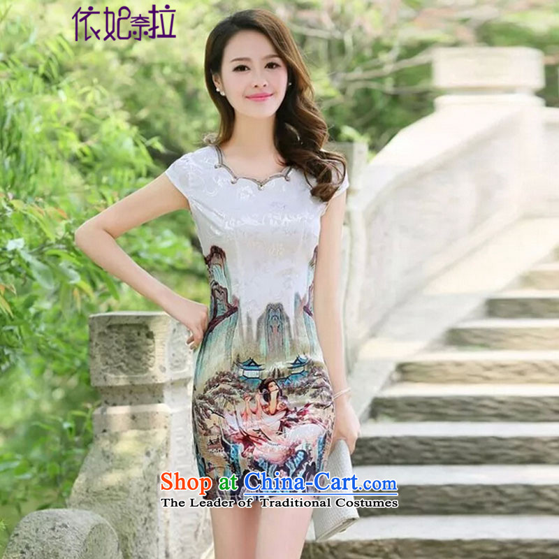 In accordance with the princess naira?   2015 new summer skirt daily qipao porcelain stylish short of improved dress #5523 **?golden beauty figure?XXL