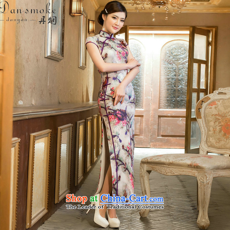 Dan smoke cheongsam dress long retro cheongsam elegant TULIP   improved cheongsam dress collar LONG WEN LING�XL