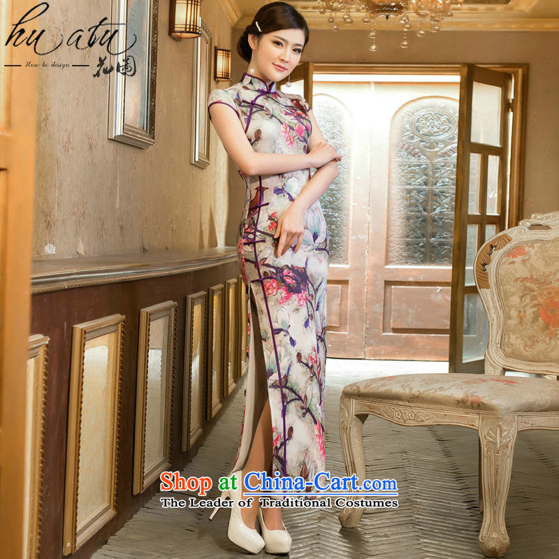 Floral cheongsam dress long retro cheongsam elegant TULIP   improved cheongsam dress collar LONG WEN LING聽 XL