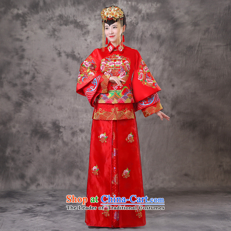 The Royal Advisory Groups to show friendly new Bong-Koon-hsia retro Chinese bride dresses previous Popes are placed wedding marriage services red dragon qipao bows should start with the wedding dress clothes set of燬 Breast 97