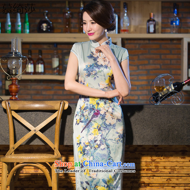 The cross-sa?2015 load spring and autumn remain Xuan silk cheongsam dress summer temperament of daily long qipao gown improved long qipao?QD239 2XL