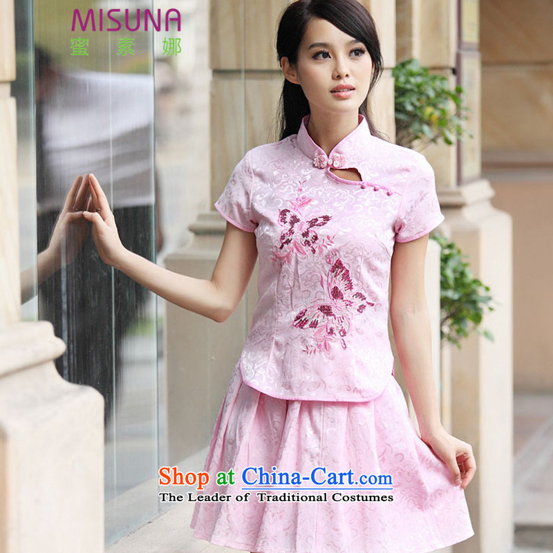 Honey so the  2015 Summer new sets of elegant qipao retro Fresh Chinese cheongsam dress _6908 of butterfly pink XL