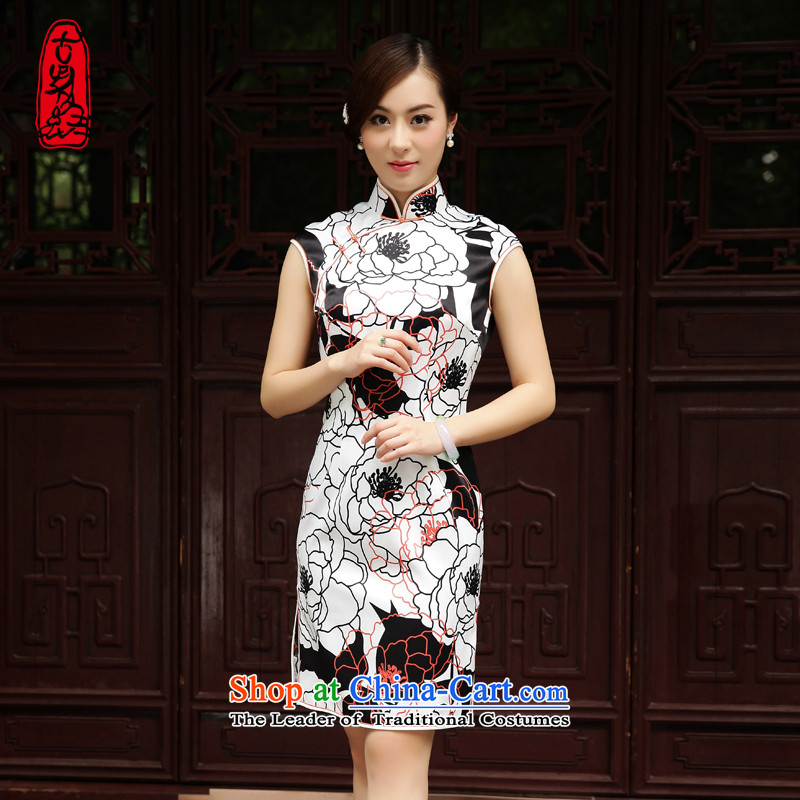The Wu female red 2015 new cheongsam summer Silk Dresses Ms. daily Tang dynasty dresses�M short of Sau San