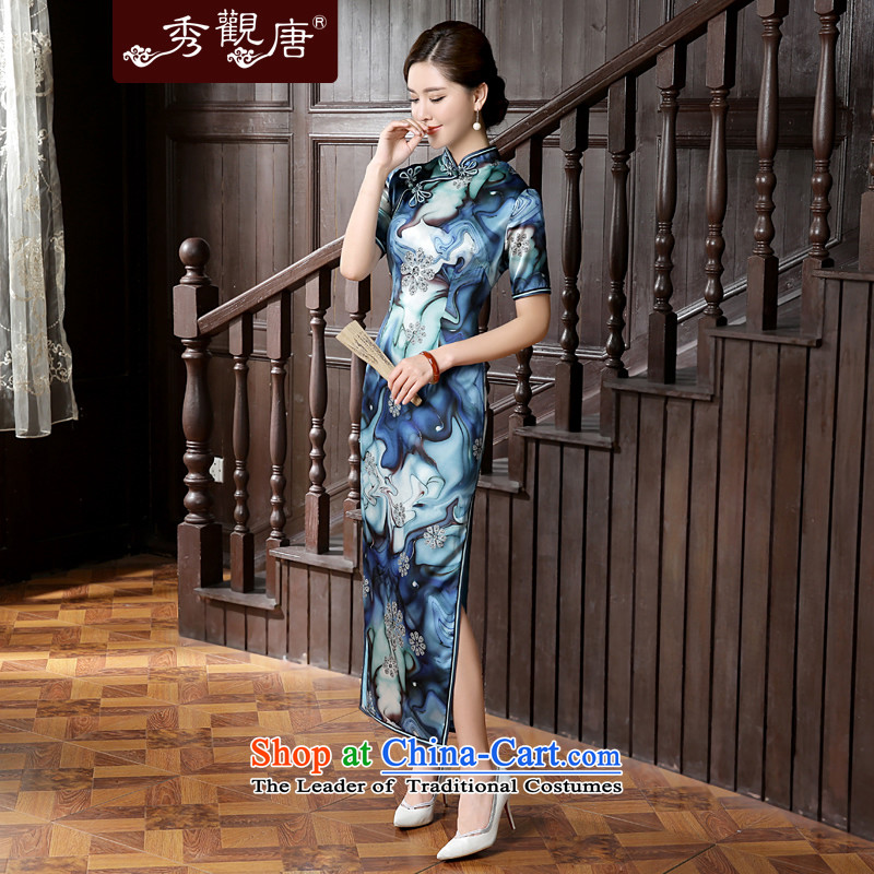 [Sau Kwun Tong] also not 2015 Summer new diamond stamp retro silk cheongsam dress QD5627 long suit�XXL