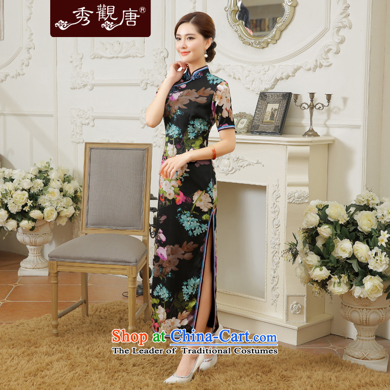 [Sau Kwun Tong] Priority Club 2015 Summer Scent of new high-end silk retro long open cheongsam dress QD5607's suit�M