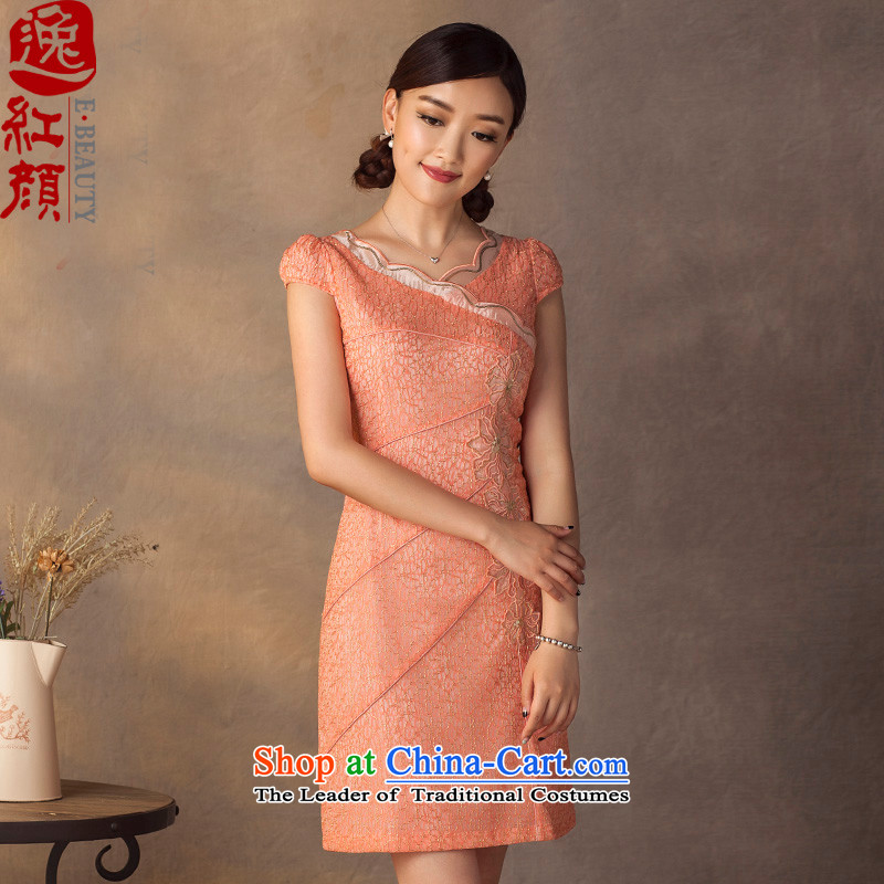 A Pinwheel Without Wind-pik qipao Yat Summer 2015 New Stylish retro improved day-to-day short of cheongsam dress pink S