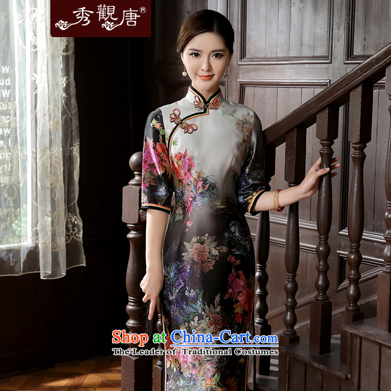 [Sau Kwun Tong] 2015 Summer Scent new stamp in the retro-sleeved silk cheongsam dress QZ5624 herbs extract Suit M