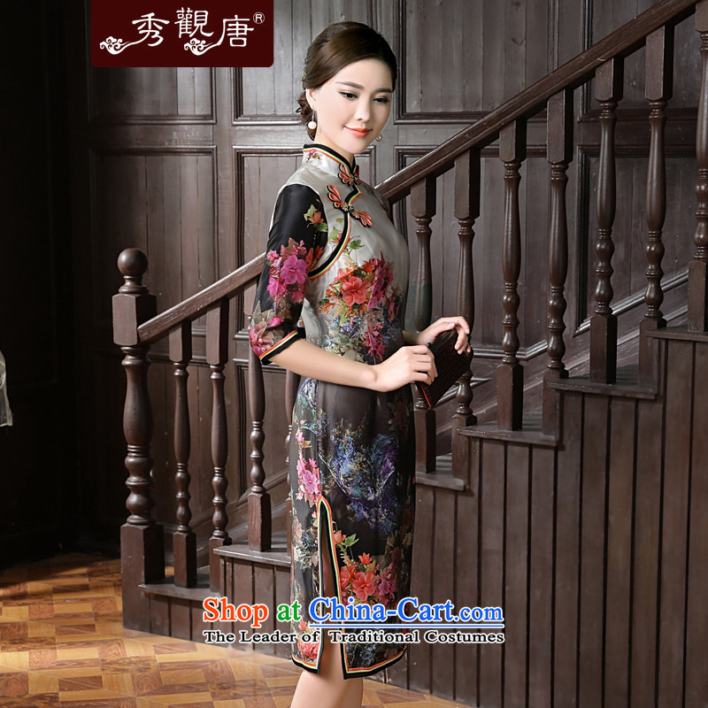[Sau Kwun Tong] 2015 Summer Scent new stamp in the retro-sleeved silk cheongsam dress QZ5624 herbs extract Suit M-soo Kwun Tong shopping on the Internet has been pressed.