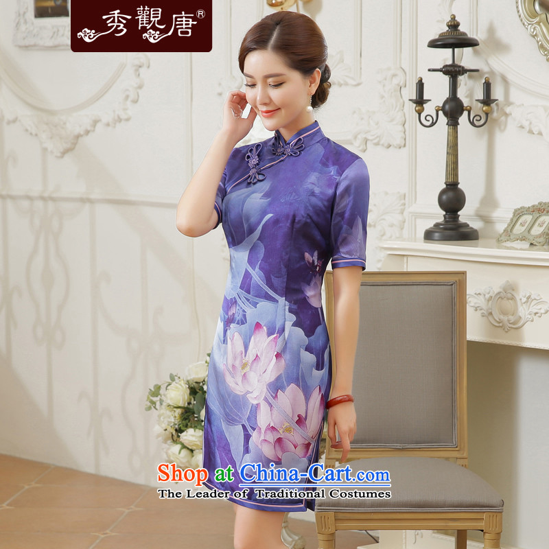 -Sau Kwun Tong- Zi 2015 Summer I should be grateful if you would have the new ink lotus retro silk cheongsam dress QD5601 herbs extract Suit燤