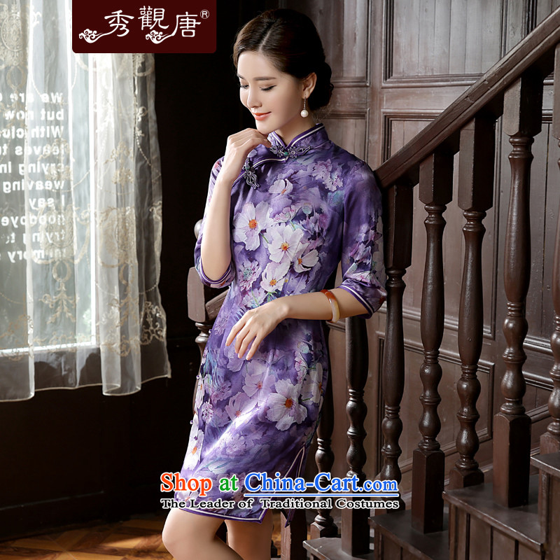 -Sau Kwun Tong- 2015 Summer Scent of the Baiyu New Silk Cheongsam cuff in improved retro dresses QZ5623 SUIT聽XL